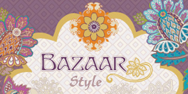 Bazaar Style by Pat Bravo. Inspired by exotic florals and medallions in purple, gold and teal.