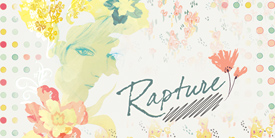 Rapture by Pat Bravo. A soft flowery collection with hues of lemon, red & blue.