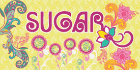 Sugar by Pat Bravo. Pop, retro and vintage designs of flowers and round shapes.