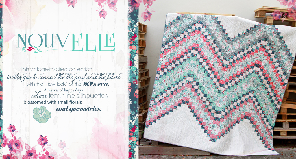 NouveElle Fabric Collection. This vintage-inspired collection invites you to connect the past and the future with the new look of the 50's era. A revival of happy days where feminine silhouettes blossomed with small florals and geometrics.