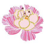 Dreaming in French by Pat Bravo Pink Vector Flower textile.
